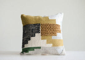 Handwoven White Wool Kilim Pillow with Yellow, Green & Black Accents (SHIPPING ONLY)
