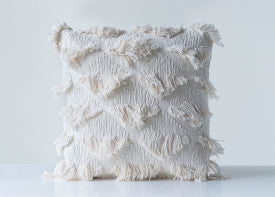 Embroidered White Square Cotton Pillow with Eyelash Fringe (SHIPPING ONLY)