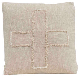 "Square Cotton Mudcloth Pillow with Fringed ""X"" Pattern (SHIPPING ONLY)"