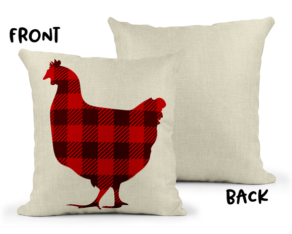 Plaid Rooster/Chicken Linen Pillow