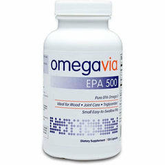 OmegaVia EPA 500 Omega-3 Fish Oil, 120 Capsules, 500 mg EPA/Pill, High-Purity EPA Formula (Triglyceride Form)