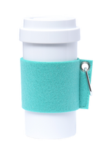 Load image into Gallery viewer, Eco Amigo - Cafe Plus Cyan Felt Mug Sleeve Metal Carabiner