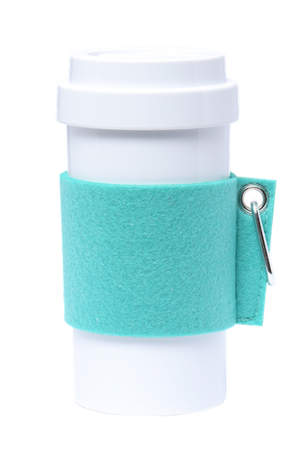 Eco Amigo - Cafe Plus Cyan Felt Mug Sleeve Metal Carabiner