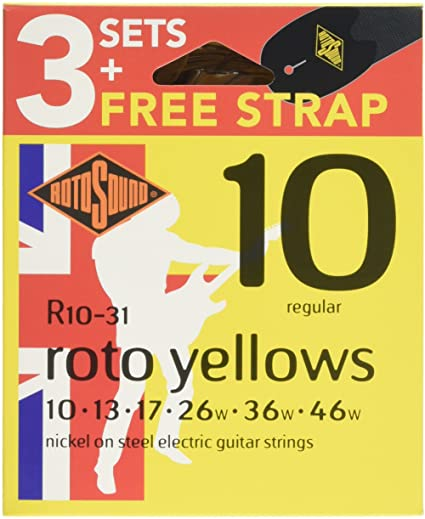 Rotosound Electric Guitar Strings 10-46 3 Pack w/Strap