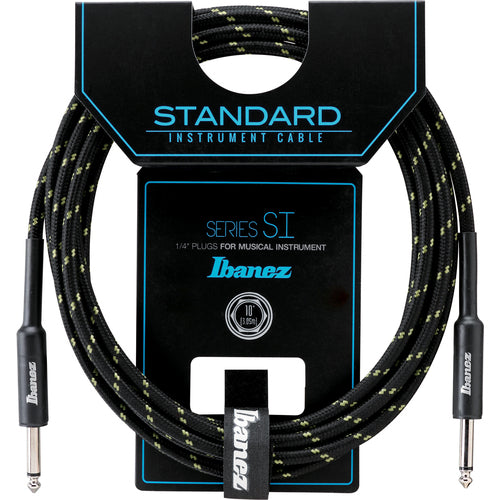 Ibanez Guitar Cable 10ft Woven, Black and Green