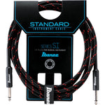 Ibanez Guitar Cable 20ft Woven, Black and Red
