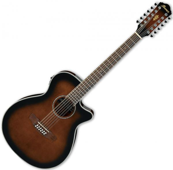 Ibanez AEG1812II AEG 12 String Acoustic Electric Guitar, Dark Violin Sunburst