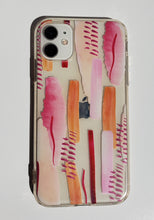 "Load image into Gallery viewer, ""Abstract Pink Paint"" Clear iPhone Case"