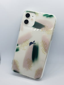 """Abstract Green"" Clear iPhone Case"