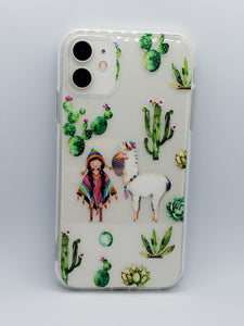 """Cactus and Llama"" Clear iPhone Case"