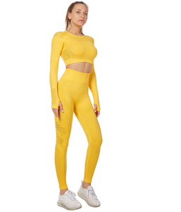 Women's Seamless Activewear 2 pcs Set, Yoga Suit Long Sleeve with Mesh, Sportswear Skinny Outfit Set, Breathable Top and Legging