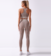 Load image into Gallery viewer, SnakeSkin Women's Seamless Activewear 2 pcs Set, Yoga Suit Long Sleeve with Mesh, Sportswear Skinny Outfit Set, Breathable Top and Legging