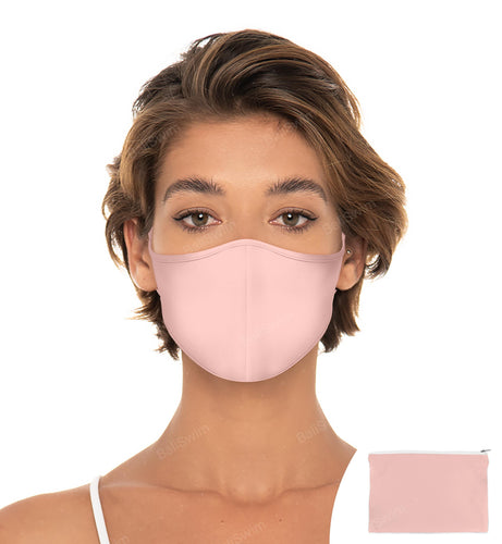Champagne Rose Reuseable Face Mask, Washable Face Mask with matching Pouch, Adjustable with slider on earloop