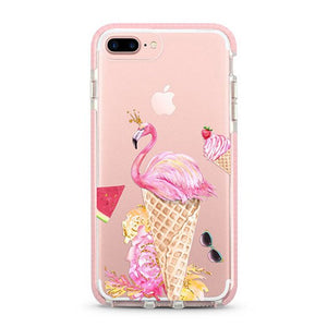 """ Flamingo & Ice Cream"" iPhone Clear Case"