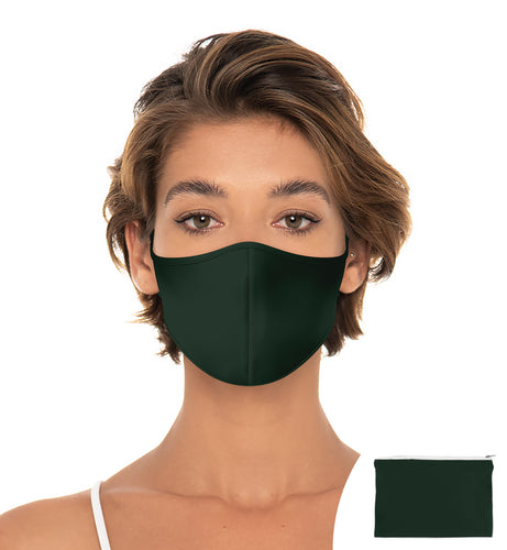 Green Forest Reuseable Face Mask, Washable Face Mask with matching Pouch, Adjustable with slider on earloop