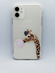 """Giraffe Chewing Bubble Gum"" iPhone Clear Case"