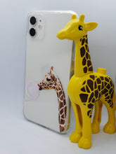"Load image into Gallery viewer, ""Giraffe Chewing Bubble Gum"" iPhone Clear Case"
