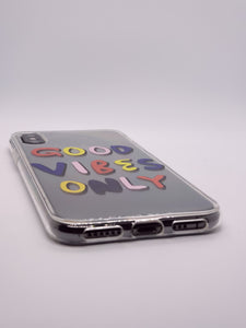 """Good Vibes Only"" Clear iPhone Case"