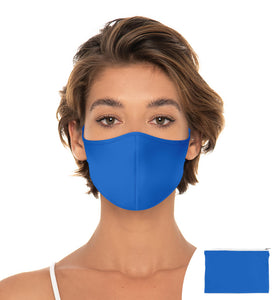 Ocean Blue Reuseable Face Mask, Washable Face Mask with matching Pouch, Adjustable with slider on earloop