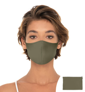 Army Green Face mask Reuseable face mask, Washable Face Mask with matching Pouch, Adjustable with slider on earloop