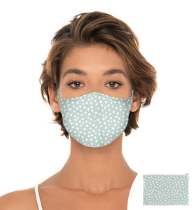 Blue and White Polka Dots Reuseable Face Mask, Washable Face Mask with matching Pouch, Adjustable with slider on earloop