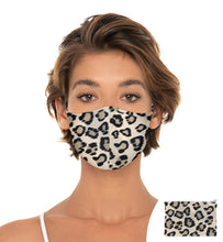 Load image into Gallery viewer, Light Leopard Reuseable Face Mask, Washable Face Mask with matching Pouch, Adjustable with slider on earloop