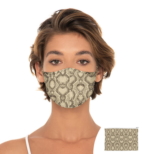 Crocodile Reuseable Face Mask, Washable Face Mask with matching Pouch, Adjustable with slider on earloop