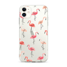 "Load image into Gallery viewer, ""Flamingo Feast"" Clear iPhone Case"