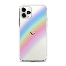 "Load image into Gallery viewer, ""Rainbow Heart"" Clear iPhone Case"