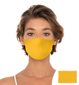 Yellow Saffron Reuseable Face Mask, Washable Face Mask comes with mathing Pouch, Adjustable with slider on earloop