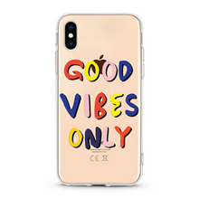 "Load image into Gallery viewer, ""Good Vibes Only"" Clear iPhone Case"
