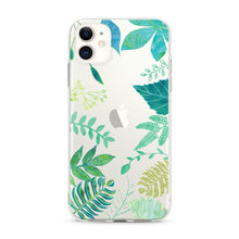 "Load image into Gallery viewer, ""Tropical Green Leaves"" Clear iPhone Case"