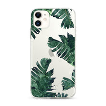 "Load image into Gallery viewer, ""Tropical Banana Leaves"" Clear iPhone Case"