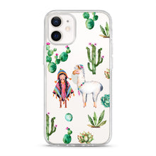 "Load image into Gallery viewer, ""Cactus and Llama"" Clear iPhone Case"