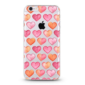 """Pink Hearts"" Clear iPhone Case"