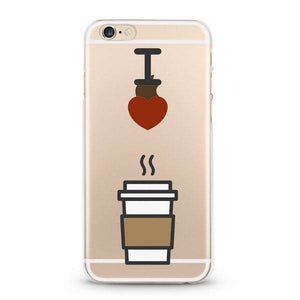 """I Love Coffee"" Clear iPhone Case"