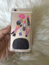 "Load image into Gallery viewer, ""Make up Purse"" Clear iPhone Case"