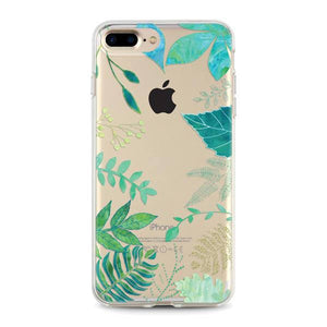 """Tropical Green Leaves"" Clear iPhone Case"