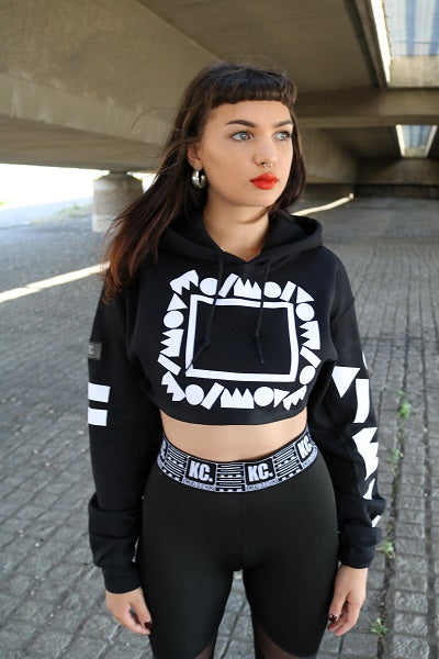 90s Poetic Crop Top Hoody Black