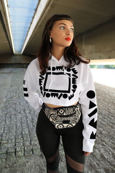 90s Poetic Crop Top Hoody White