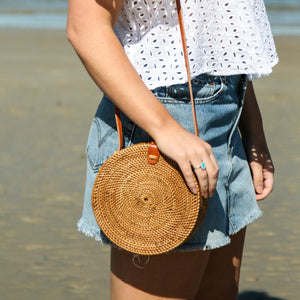 Jane Rattan Crossbody Bag
