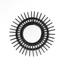Load image into Gallery viewer, Small round circular rattan mirror featuring short spikes radiating out from the circumference of the 18cm mirror and is available in either a black, natural or white finish
