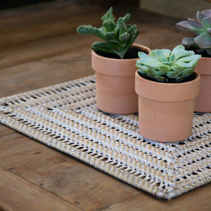 Durable square open weave natural rattan table centrepiece with whitewashed finish.