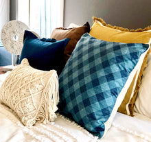 Load image into Gallery viewer, Blue Madras Cushion