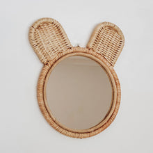 Load image into Gallery viewer, Natural coloured round rattan and wicker mirror in a cute bear ears design.