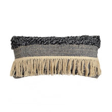 Load image into Gallery viewer, Soft and tactile lumbar cushion with tufted loop detail in grey and blue tones featuring a band of long natural fringing across its width.