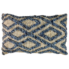 Load image into Gallery viewer, Rectangular cushion with blue bauble knot detail woven in an irregular diamond pattern on natural weave background