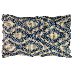 Rectangular cushion with blue bauble knot detail woven in an irregular diamond pattern on natural weave background