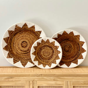 White Stitched Rattan Plates - Set of 3