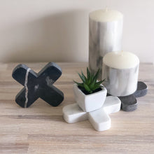 Load image into Gallery viewer, Little black, white and grey decorative crosses carved from marble-look stone, each with their own combination of colour and natural veining.